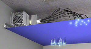 eclairage int gr au plafond tendu spots leds fibre. Black Bedroom Furniture Sets. Home Design Ideas